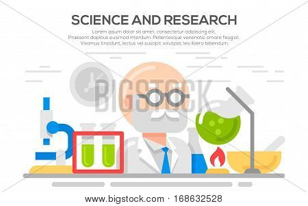 Science concept illustration. Science and scientist, science laboratory, lab chemistry, research scientific, microscope and experiment, chemical lab science test, technology illustration