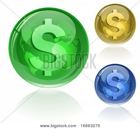 Vector illustration of dollar sign on glossy globe