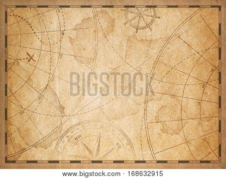 old nautical treasure vintage map theme background