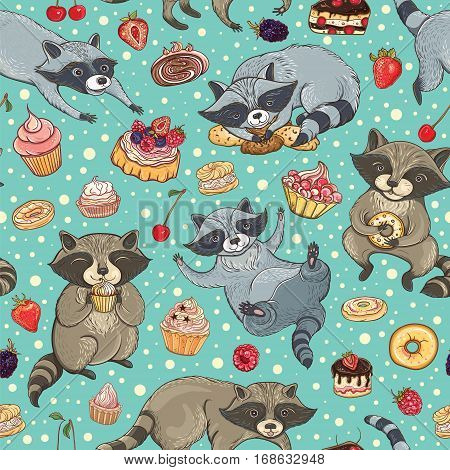Vector seamless pattern with cute sweet-tooth raccoons cakes and berries. Bright tasty background for design.