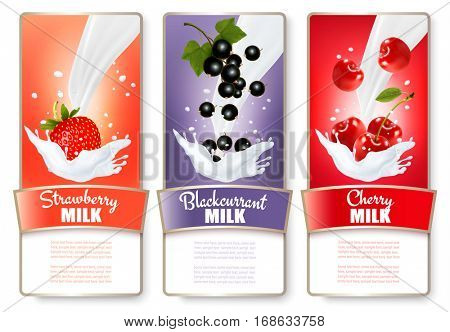 Set of three labels of berries in milk splashes. Strawberry, blueberry, raspberry. Vector.