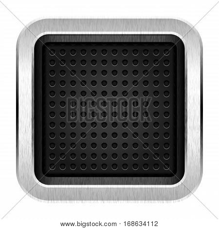 Empty icon with chrome metal frame. Web internet button rounded square shape with perforation texture. Vector illustration a graphic element for web internet design