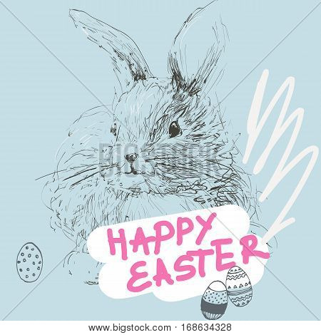 Happy Easter greeting card with lettering and hand-drawn rabbit, bunny and eggs. Cute vector illustration.