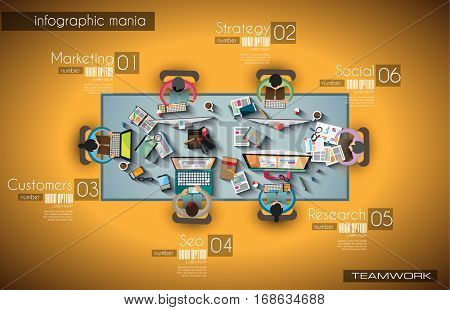 Ideal Workspace for teamwork Infographic and brainstorming with Flat style. A lot of design elements are included: computers, mobile devices, desk supplies, pencil,coffee mug, sheeets,documents