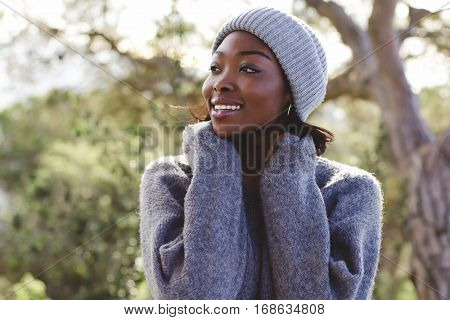 Young african woman  in a winter day outdoors