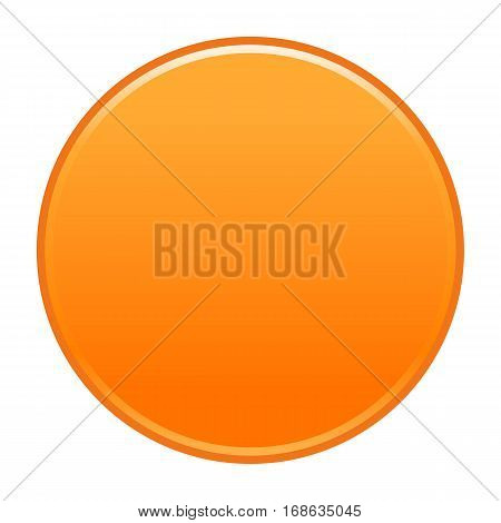 Orange flat button blank web internet icon circle empty shape. Vector illustration a graphic element for web internet design