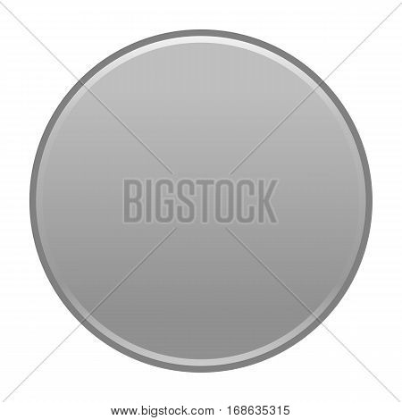 Gray flat button blank web internet icon circle empty shape. Vector illustration a graphic element for web internet design