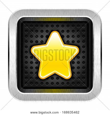 Application icon favorite with gold star and chrome metal frame. Web internet button rounded square shape with perforation texture. Vector illustration a graphic element for web internet design
