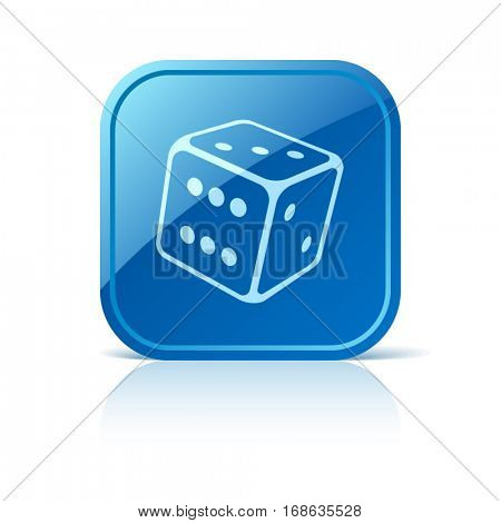 Dice icon on blue web button
