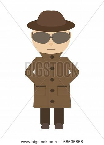 Spy - isolated Vekton character. Secretive man character in a flat style