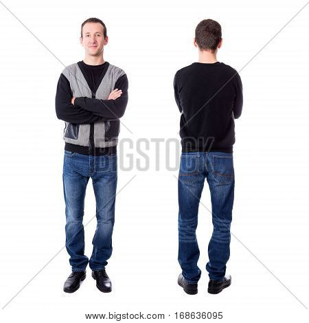 Front And Back View Of Handsome Middle Aged Man Isolated On White
