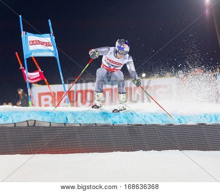 STOCKHOLM SWEDEN - JAN 31 2017: Alexis Pinturault (FRA) jumping in the downhill skiing in the parallel slalom alpine event Audi FIS Ski World Cup. January 31 2017 Stockholm Sweden