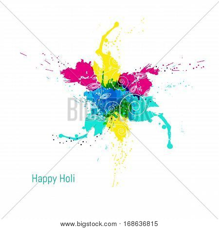 Abstract colorful Happy Holi background. Design for Indian Festival of Colours. Vector illistration