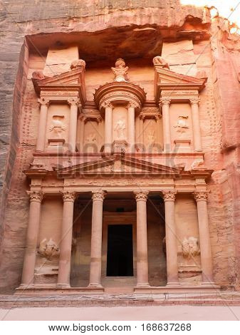 Beautiful Petra ancient treasury in rocks front view