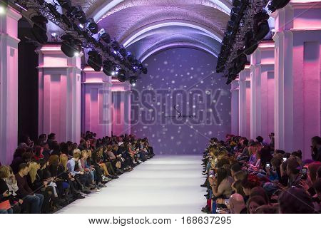KYIV, UKRAINE - OCTOBER 16, 2016: Audience waiting for the collection show of Alena Serebrova during the 39th Ukrainian Fashion Week at Mystetsky Arsenal in Kyiv