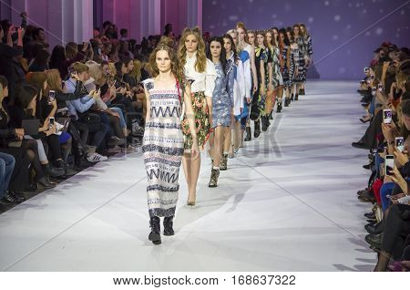 KYIV, UKRAINE - OCTOBER 16, 2016: Models walk the runway at Alena Serebrova collection show during the 39th Ukrainian Fashion Week at Mystetsky Arsenal in Kyiv