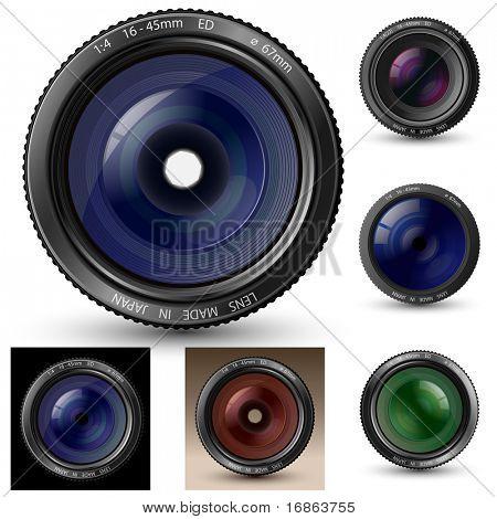 Kamera-Objektiv-Sammlung. Ein Kamera-Objektiv-Vektorgrafiken mit realistischen Reflexionen und Schatten