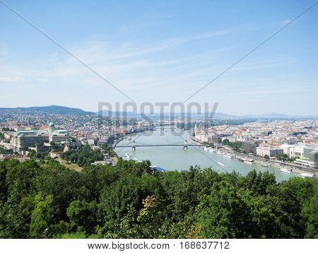 Beautiful view of Buda and Pest, eastern and western parts Budapest city, Hungary, from up top. Panorama with Danube river, the biggest river in Europe, on sunny summer day with clear blue sky empty background