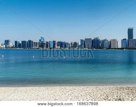 Abu Dhabi skyscrapers panorama with Persian Gulf