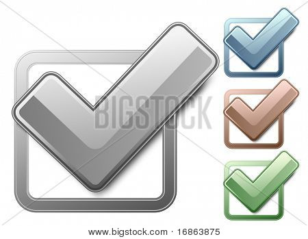 Metallic check boxes with check marks