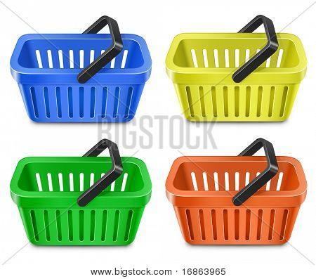Conjunto de colorida canasta. Carro de compras.