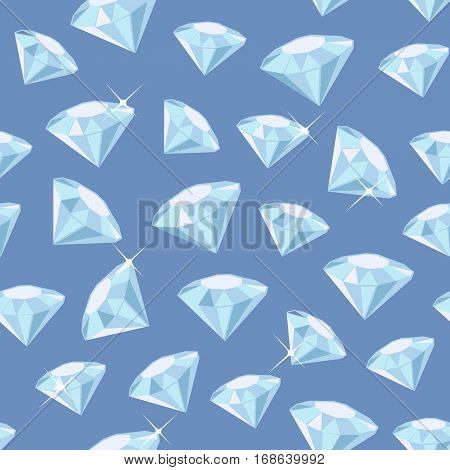 Seamless vector pattern made of diamonds on blue