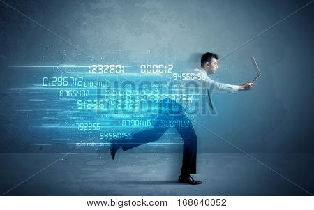 Business man running with media device and high tech wireless data concept on background