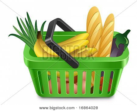 Green shopping cart full of products