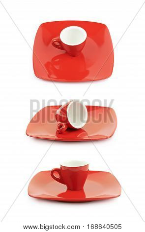 Tiny red espresso ceramic cup over the square shaped plate, composition isolated over the white background, set of three different foreshortenings