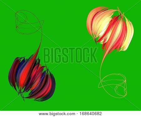 An abstract red peony on green background