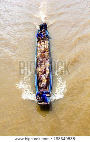 Fluvial transportation in Mekong Delta, south of Vietnam