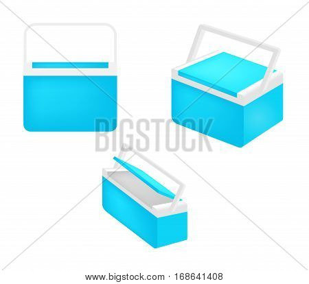 Handheld blue refrigerator isolated over white background. cooler vector