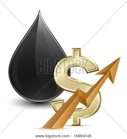 Oil price. Vector illustration of crude oil and dollar sign with arrow