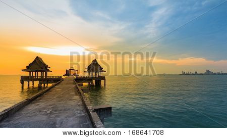Natural sunset over seacoast over abandon temple in the Ocean natural landscape background