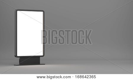 Lightboxe On Gray Studio Background. 3D rendering. Template for your Design