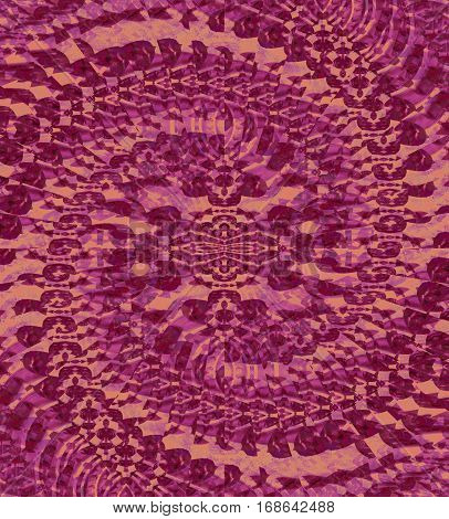Abstract geometric seamless background. Regular ornate spiral ornament in pink, violet and purple shades.
