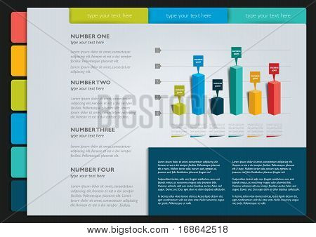 Page template, infographics. Vector illustration. Colured image.
