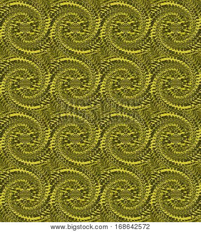 Abstract geometric seamless background. Regular spiral pattern in green shades single color.