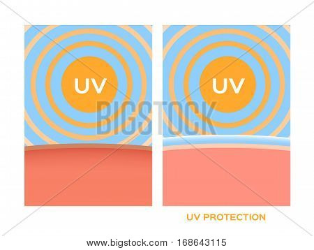 uv , ultraviolet protection vector . sun