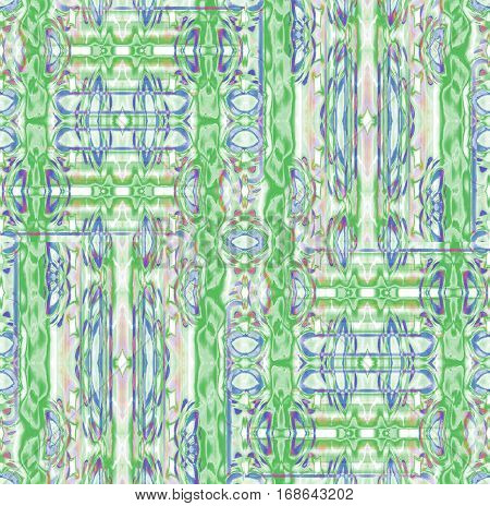 Abstract geometric seamless background. Regular intricate ornaments in green, blue, purple and beige shades, ornate and extensive.