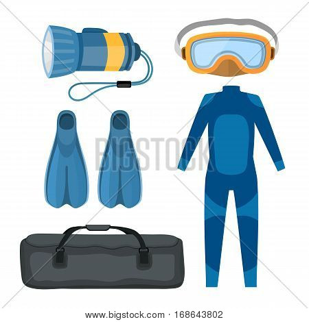 Diving suit scuba underwater equipment vector illustration. Hobby swimming underwater adventure. Swim travel marine protective swimwear.