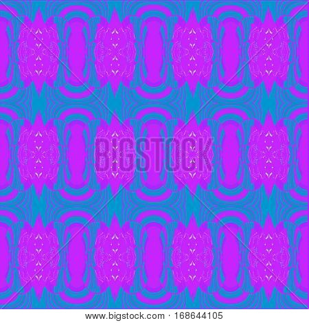 Abstract geometric seamless background. Regular ellipses pattern magenta on turquoise blue, ornate and dreamy.