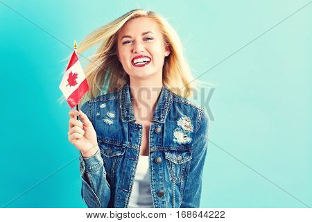 Young Woman Holding Canadian Flag