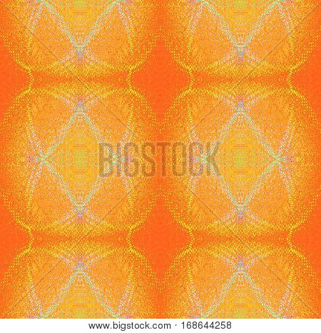 Abstract geometric seamless background. Regular modern ornaments, dots pattern in yellow and orange shades with violet and turquoise elements.