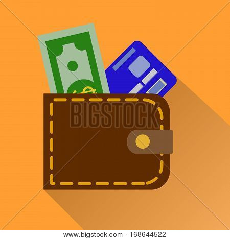 Wallet icon with card and cash in color isolated on orange background . Money case cash shopping. Vector Illustration