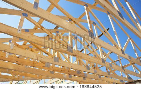 Roofing Construction. Wooden Roof Frame House Construction. Wooden Trusses Roofing Construction.