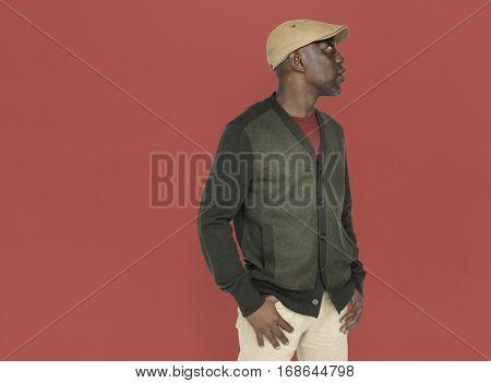 African Descent Man Side Pose Concept
