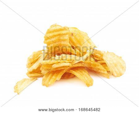 Pile of seasoned potato chip crisps isolated over the white background