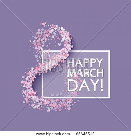 Women day background with frame flowers. 8 March invitation card. Vector illustration.