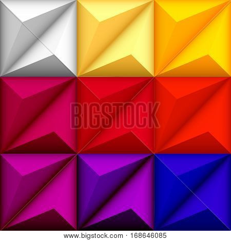 Abstract geometric seamless multicolored rainbow background with triangle shapes